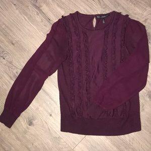 WHBM, Merlot Colored Ruffled sweater sheer sleeves